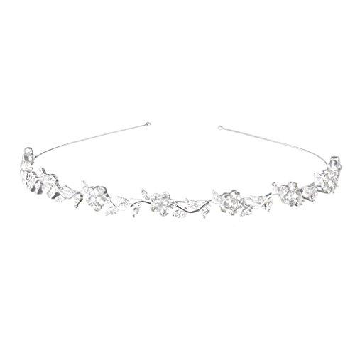 Hobees Women's Wedding Crystal Bridal Flower & Leaves Crown Headband Tiara Headdress