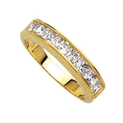 18K Gold Plated Clear Cubic Zirconia Half Eternity Wedding Band Ring - Size 4.5