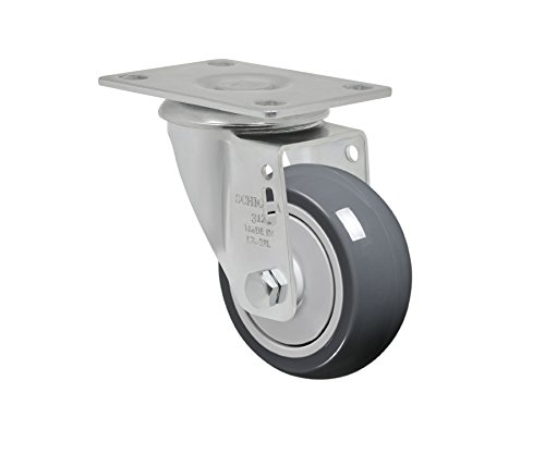 """Schioppa L12 Series, Gla 312 Tbe, 3 X 1-1/4"""" Swivel Caster, Non-Marking Thermoplastic Rubber Precision Ball Bearing Wheel, 150 Lbs, Plate 3-3/4 X 2-1/2"""" (Bolt Holes 3 X 1-3/4"""") front-394806"""