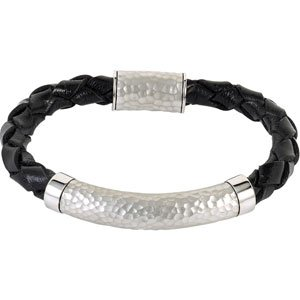 Clevereve 2013 Luxury Series Sterling Silver Basket Weave Leather & Hammer Finished Bracelet W/ Magnetic Clasp