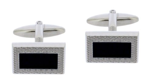 Code Red Base Metal Rhodium Plated Rectangular Cufflinks with A Machined Pattern Edge and Black Enamel