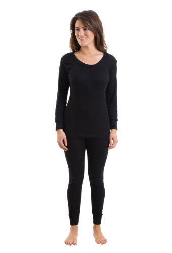 Womens Thermal Underwear Black Set Long Sleeve Vest & Long Pants