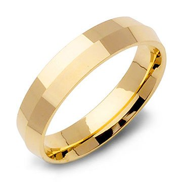 Knife Edge Wedding Ring Band in 14k Yellow Gold (5mm)