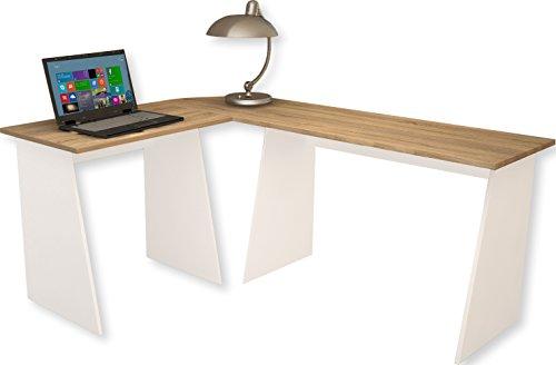 911536 Eck-Schreibtisch Masola Schreibtisch, Computertisch, Winkeltisch, 74 x 135 x 105 cm, weiß / sonoma-eiche