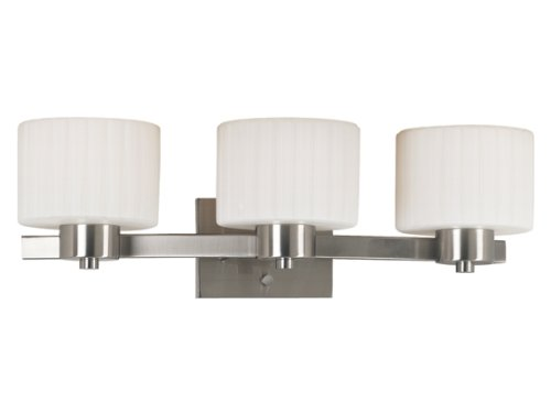 Kenroy Home 80413BS Legacy Three-Light Vanity Light with 6-Inch fluted Glass Shades