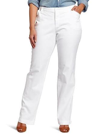 Lee Women's Plus-Size Comfort Fit Straight Leg Pant, White, 26W Medium
