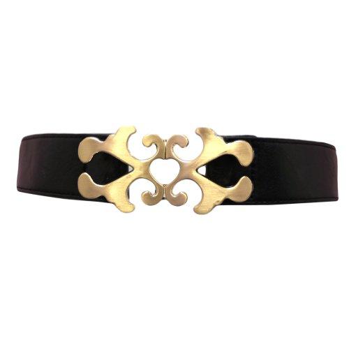 Black Elastic Waist Cinch Belt W/Antique Gold Tone Buckle