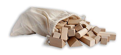 120 kleine unbehandelte Holzbausteine Natur,
