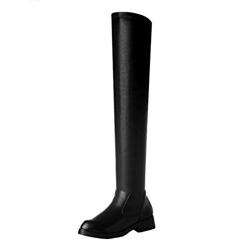 Guciheaven Women Winter New Style Leather Handmade Overknee Boots(7 B(M)Us, Black)