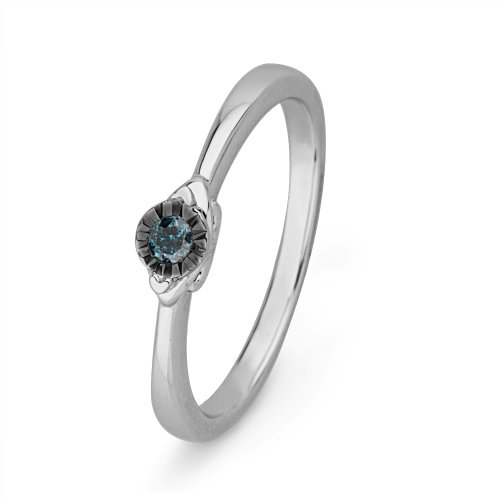 Platinum Plated Sterling Silver Blue Round Diamond Promise Ring (1/10 cttw)