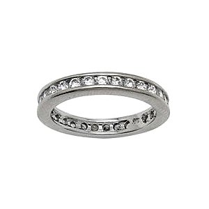 Sterling Silver 3mm Cubic Zirconia Eternity Wedding Band - RingSize 7