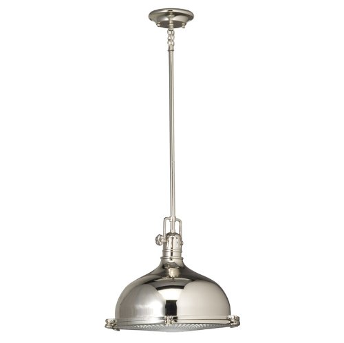 B001EGSKPG Kichler Lighting 2666PN 1-Light 150-Watt Incandescent Mini Pendant with Fresnel Lens, Polished Nickel