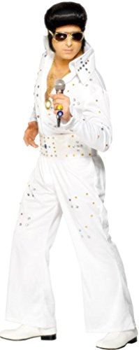 "Smiffys Men's White Elvis Costume With Jewels - Chest 38""-40"", Leg Inseam 32.75"""