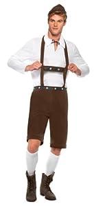 Smiffy's Bavarian Man Costume Lederhosen Shorts with Braces Top and Hat (Medium, Brown)