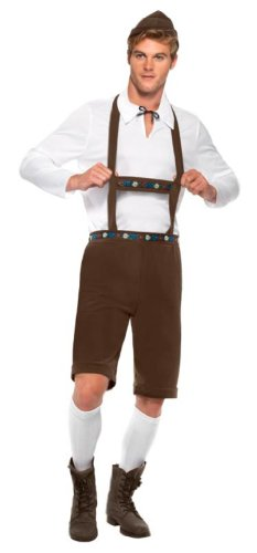 Smiffy's Men's Bavarian Man Costume Lederhosen Shorts with Braces Top and Hat