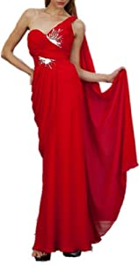 Meier Women's One Shoulder Chiffon Gown 1992(12, Red)