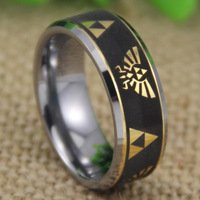 Tungsten Band with Beveled Edge Legend of Zelda Pattern Ring (6)