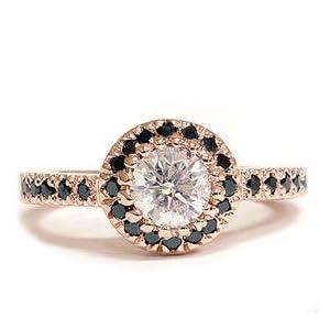 Rose Gold .93CT Black White Diamond Engagement Ring 14K