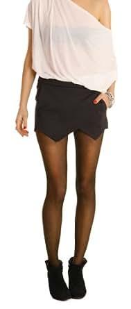 n.n. jupe-culotte drapée, pantalon en tissu, short femme, hotpants j119p 40/L Noir