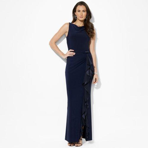 Ralph Lauren Blue Sleeveless Ruffle Jersey Gown (12)