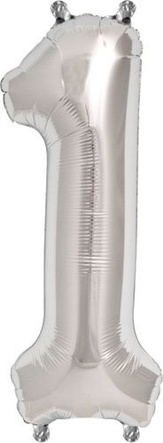 16 inch Number 1 - Silver Air-Filled Foil Balloon