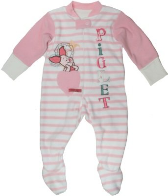 Ex Store Baby Girls Fleece Pink Stripe Piglet Sleep Suit 18-24 Months