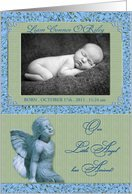 Baby Boy Birth Announcement Personalized Photo Card with Angel Card