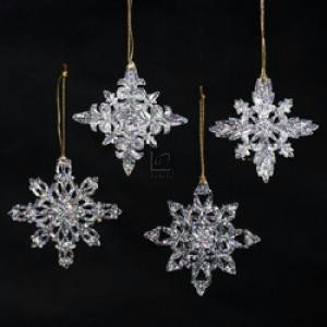 3.5-inch Acrylic Snowflake Ornament, Set of 4 Assorted - Christmas Ornament by Kurt Adler