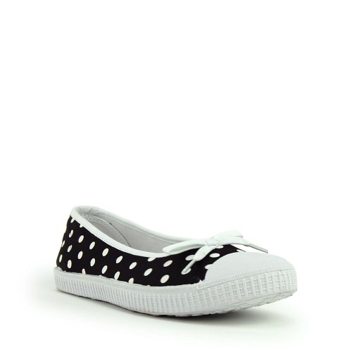 Black and White Polka Dot Bow Flats