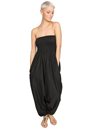 Cotton Maxi Harem Trouser Jumpsuit Black