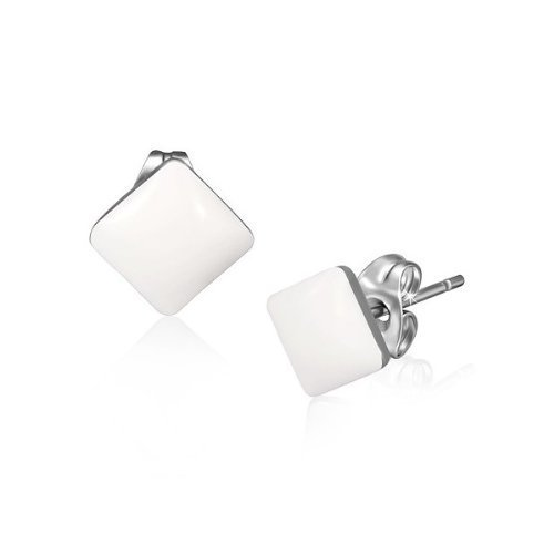 Urban Male Men's White Resin & Stainless Steel Square Stud Earrings 7mm (White Resin Earrings compare prices)