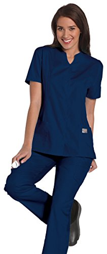 ScrubZone by Landau Women's Snap Front Solid Scrub Top X-Large Navy (Landau Scrub Top compare prices)