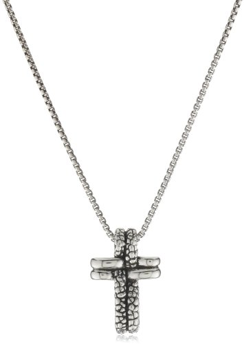 Zina Sterling Silver Cross Pendant Necklace with Stingray Texture Silver On 17