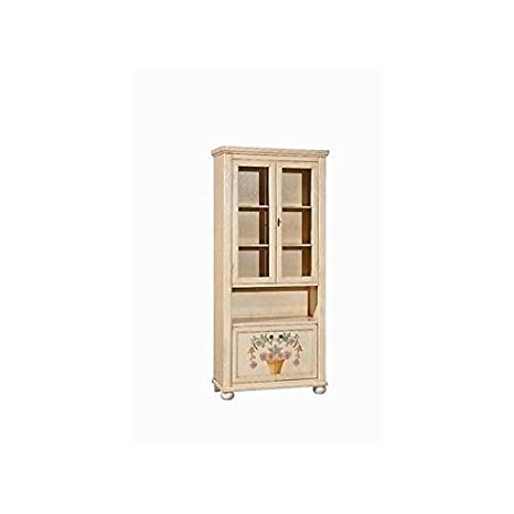 VETRINA LIBRERIA LEGNO DECORATO A MANO DIPINTO ANTICATO COUNTRY COLLECTION
