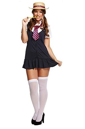 Ladies Sexy St Trinians School Girl Fancy Dress Costume Outfit with Hat. Sizes 10 to 20