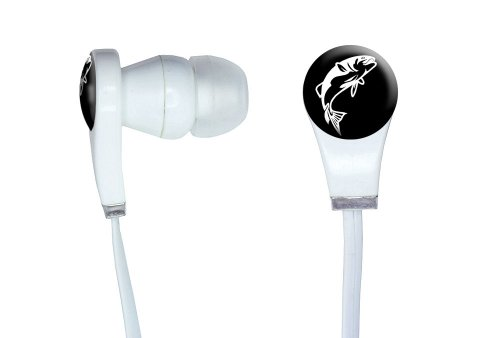 Graphics And More Fish Bass Jumping Novelty In-Ear Headphones Earbuds - Non-Retail Packaging - White