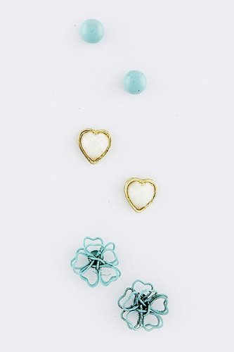 Baubles & Co Flower Heart Stud Set (Turquoise)