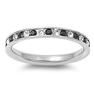 Stainless Steel Eternity Black and Clear Cz Wedding Band Ring 3mm (3,4,5,6,7,8,9,10); Comes with Free Gift Box Size (9)
