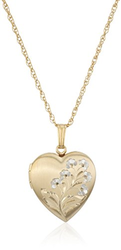 14k Gold-Filled Two-Tone Hand-Engraved Heart Locket Necklace, 18""