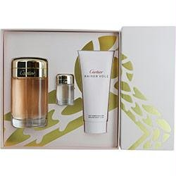 CARTIER BAISER VOLE by Cartier Gift Set for WOMEN: EAU DE PARFUM SPRAY 3.4 OZ & BODY LOTION 3.4 OZ & EAU DE PARFUM SPRAY MINI