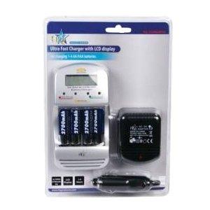 Chargeur tres rapide 2 heures avec afficheur LCD et 4 piles AA NiMh 2700mAh