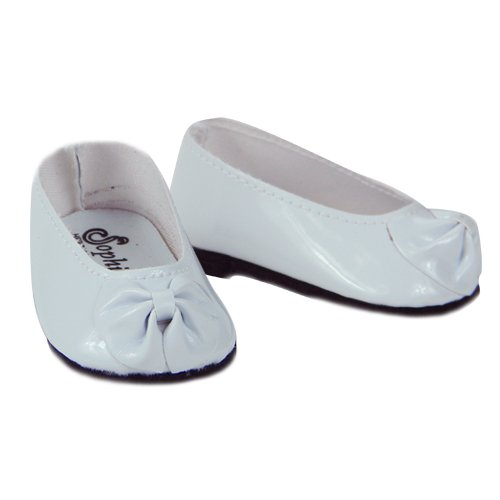 Shiny White Patent Bow Doll Shoes, Fits 18 Inch American Girl Dolls, White Patent Doll Slip On Shoes - 1