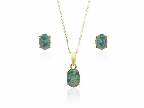 9ct Yellow Gold Triplet Opal Earrings  &  Pendant Set + 46cm Prince of Wales Chain