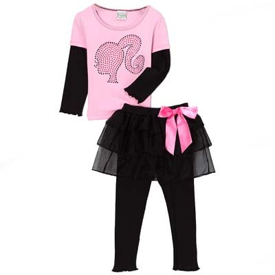 Baby Girls 2/3T Retro BARBIE shirt & tutu leggings