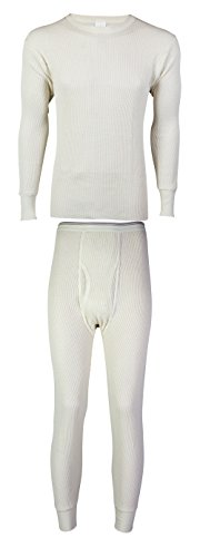 Indera Mills Men's Cotton Heavyweight Thermal Knit Set (Small, Natural Set)