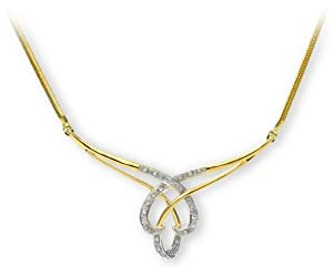 Collier - Femme - Or jaune (9 carats) 2.3 Gr - Diamant 0.1 Cts