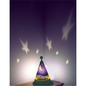 Kinderzimmerleuchte Tischleuchte Wandmotiv Sterne – projeziert drehend das Motiv an die Wand