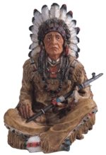 14 inch Polyresin Old Native American with Smoking Pipe Figurine