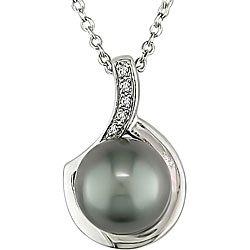 Sterling Silver 9-9.5 Mm Freshwater Cultured Pearl And Accent Diamond Pendant (0.025 Cttw, G-H Color, I3 Clarity), 18""