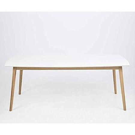 lounge-zone Tavolo da pranzo Tavolo sala da pranzo tavolo NAGONO Legno Legno massello Rovere Piano tavolo bianco allungabile Estendibile 180x90cm 12551